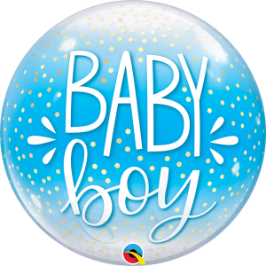 22 INCH SINGLE BUBBLE BABY BOY BLUE & CONFETTI DOT