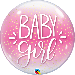 22 INCH SINGLE BUBBLE BABY GIRL PINK & CONFETTI DO