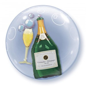 24 INCH ROUND BUBBLE BUBBLY WINE BOTTLE&GLASS 1CTP