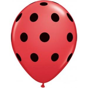 11 INCH LATEX RND RED PRT BIG POLKA DOTS BLK 50CTP