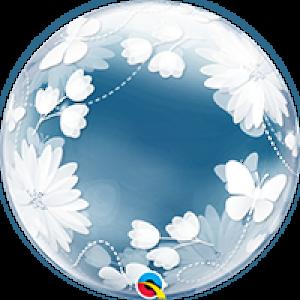 20 INCH DECO BUBBLE BUTTERFLIES&FLOWERS1CTP