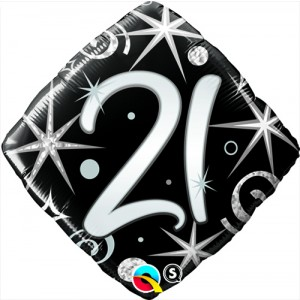 18 INCH FOIL AGE 21 ELEGNT SPARKL&SWIRLS 1CTP