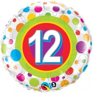 18 INCH FOIL AGE 12 COLORF DOT 18 RND 1CTP