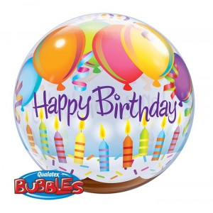 22 INCH SINGLE BUBBLE BDAY BALLOONS & CANDLES 1CTP