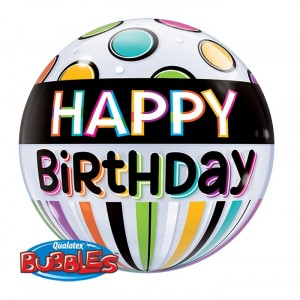 22 INCH SINGLE BUBBLE BDAY BLACK BAND & DOTS 1CTP