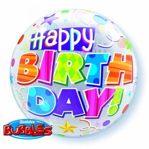 22 INCH SINGLE BUBBLE BDAY PARTY PATTERNS 1CTP