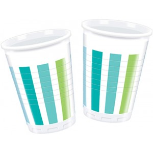 NAVY STRIPES PLASTIC CUPS 200ML 10CT