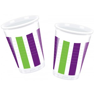 GRAPE STRIPES PLASTIC CUPS 200ML 10CT