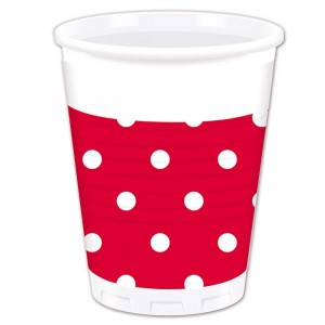 RED DOTS PLASTIC CUPS 200ML 10CT
