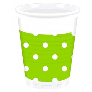 GREEN DOTS PLASTIC CUPS 200ML 8CT