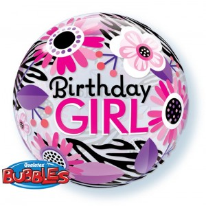 22 INCH SINGLE BUBBLE BDAY GIRL FLO ZEBRA 1CTP