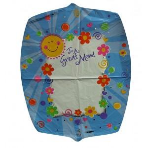 25 INCH FOIL SHAPE GREAT MOM! SUN & FLOWERS 1CTL