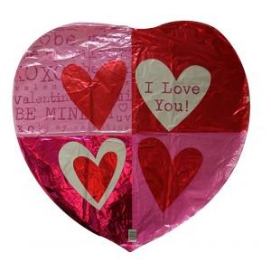 18 INCH FOIL HEART QUADRANTS 1CTL