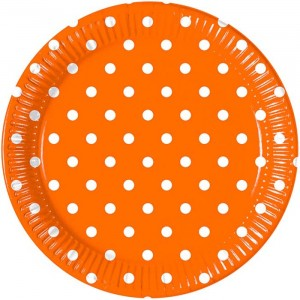 ORANGE DOTS-PAPER PLATES LARGE 23CM 8CT