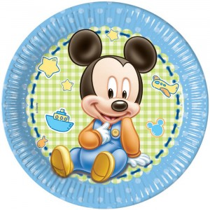 BABY MICKEY PAPER PLATES LARGE 23CM 8CT