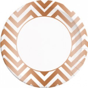COPPER CHEVRON PAPER PLATES LARGE 23CM 8CT