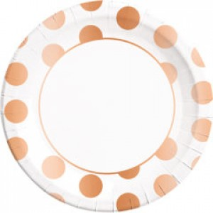 COPPER DOTS PAPER PLATES LARGE 23CM 8CT