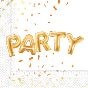 GOLD PARTY TWO PLY PAPER NAPKINS 33X33CM 20CT