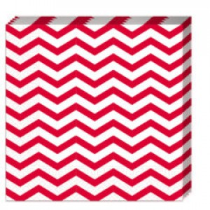 RED CHEVRON TWO PLY PAPER NAPKINS 33X33CM 20CT