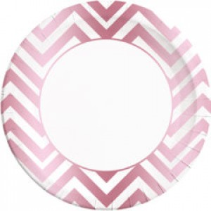 ROSE GOLD CHEVRON PAPER PLATES LARGE 23CM 8CT