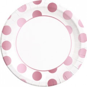 ROSE GOLD DOTS PAPER PLATES LARGE 23CM 8CT