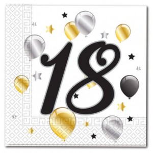 18 BDAY BALON & STR-TWO-PLY PPR NPKN 33X33CM 20CT