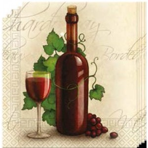 THREE-PLY NAPKINS 33X33CM -WINE BOTTLE 20CT