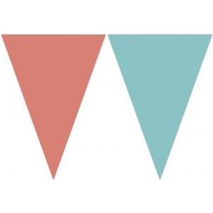 TRIANGLE FLAG BANNER CORAL AND TEAL 1CT