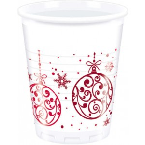 XMAS RED BALLS PLASTIC CUPS 200ML 8CT