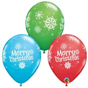 11 INCH LATEX MERRY CHRISTMAS SNOWFLAKES 50CTP