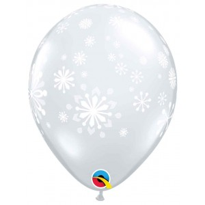 11 INCH LATEX CONTEMPORARY SNOWFLAKES 50CTP
