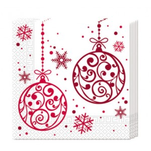 XMAS RED BALLS 3 PLY PAPER NAPKINS 33X33CM 20CT