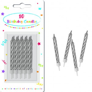 CANDLES SILVER SPIRAL BDAY WTH HOLDERS 10CTP