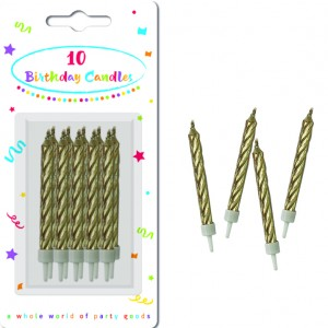 CANDLES GOLD SPIRAL BDAY WITHHOLDERS 10CTP