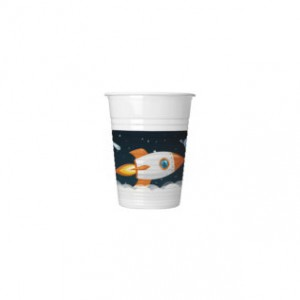 ASTRONAUT PLASTIC CUPS 200ML 8CT