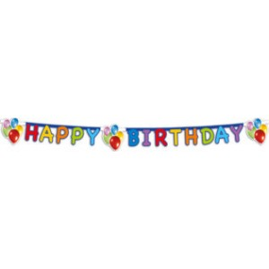 BALLOONS FIESTA HAPPY BIRTHDAY DIE CUT  BANNER 1CT