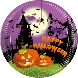 HAPPY SPOOKY HALLOWEEN  PAPR PLATES LARGE 23CM 8CT
