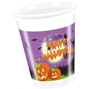 HAPPY SPOOKY HALLOWEEN  PLASTIC CUPS 200 ML 8CT