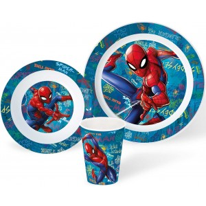 SPIDERMAN 3 PCS KIDS MICROWAVABLE SET