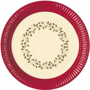 HOLLY CHRISTMAS PAPER PLATES LARGE 23CM 8CT
