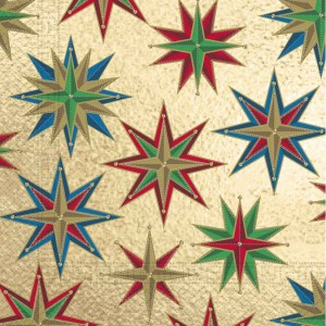 THREE PLY NAPKIN 33X33 CHRISTMAS SQUARE STARS 20CT