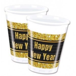 HAPPY NEW YEAR PLASTIC CUPS 200ML 8CT