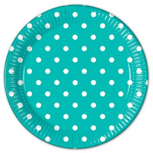 TURQUOISE DOTS PAPER PLATE LARGE 23CM 8CT