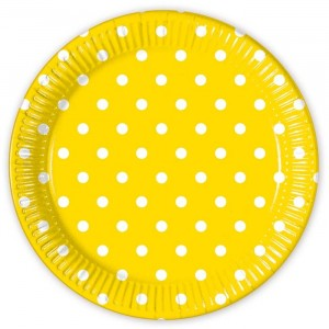 YELLOW DOTS PAPER PLATE LARGE 23CM 8CT