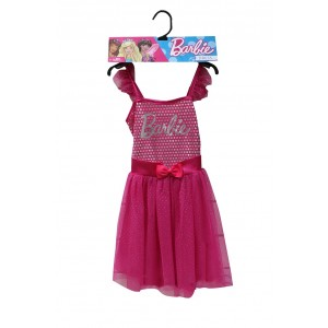 BARBIE PINK SILVER DOT DRESS AGE 5 6 1CT