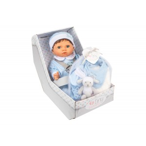 TINY TREASURES BROWN DOLL WITH LAYETTE SET