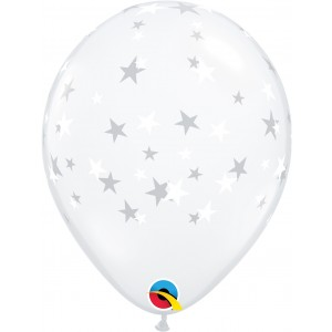 11 INCH LATEX  RND CONTEMPO STARS WHITE 50CTP