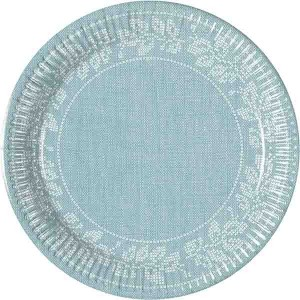 TURQUOISE FABRIC FLOWERS PAPER PLATES 20CM 8CT