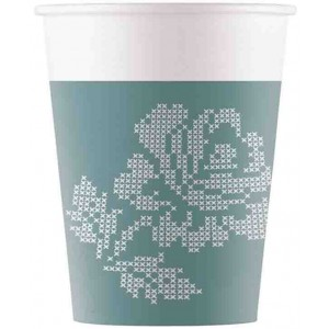 TURQUOISE FABRIC FLOWERS PAPER CUPS 200ML 8CT