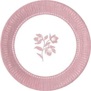 TEXTURE PINK FLOWERS PAPER PLATES 23CM 8CT
